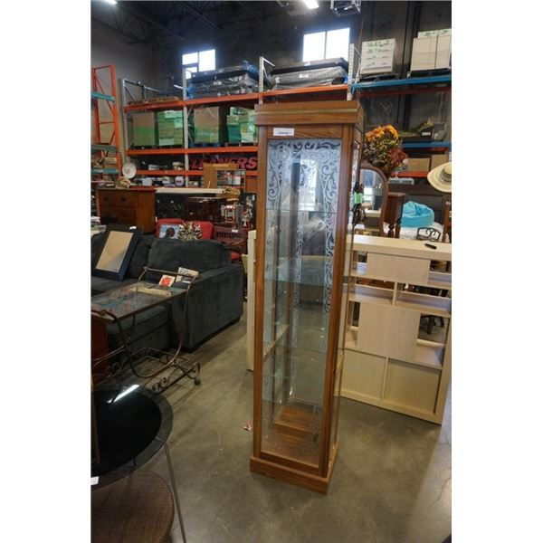 FROSTED GLASS CURIO CABINET WITH SIDE DOORS