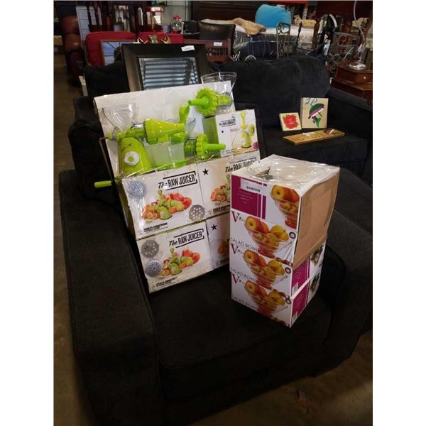 LOT OF NEW MULTI FUNCTION JUICERS AND SALAD BOWLS