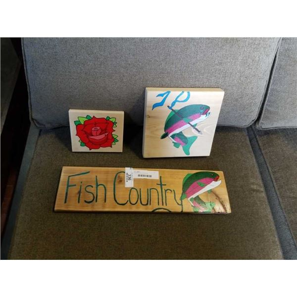 3 PAINTED WALL HANGINGS