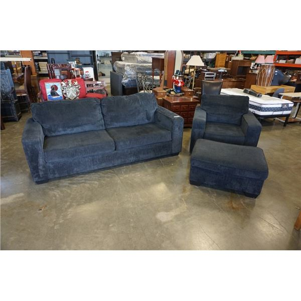 Black 3 seater sofa and chair set with ottoman