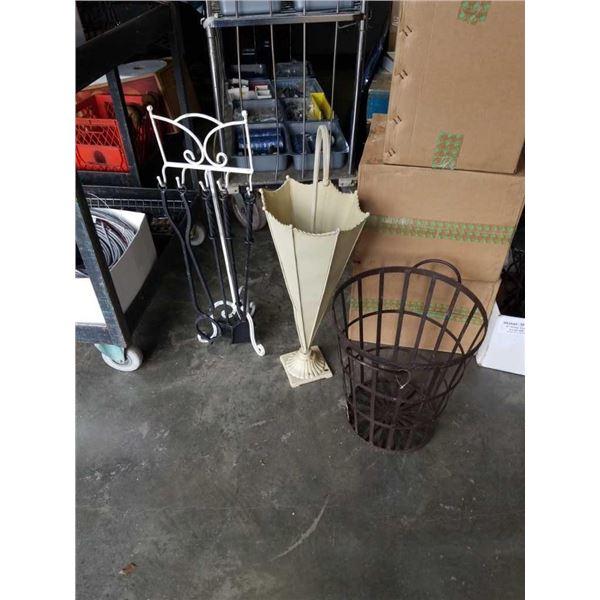Umbrella stand, decorative metal bin and companion set