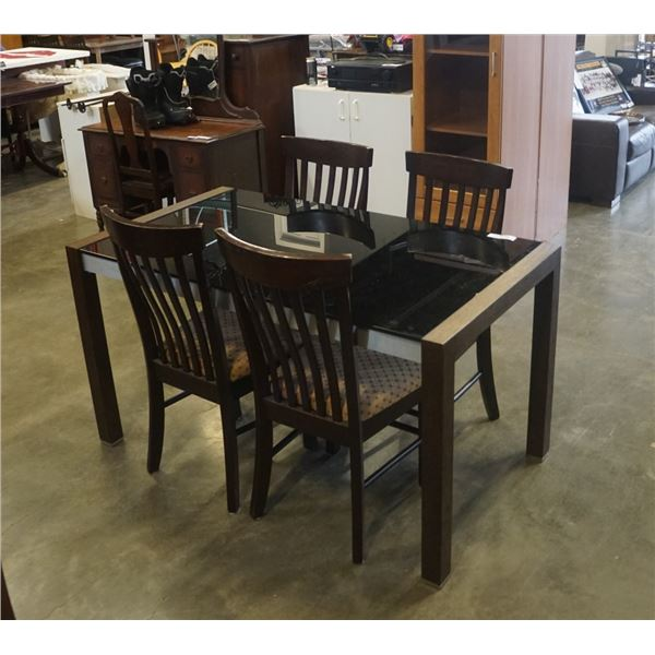 MODERN GLASSTOP DINING TABLE WITH JACKNIFE LEAF AND 4 CHAIRS