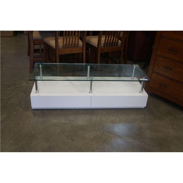 MODERN WHITE 2 DRAWER GLASSTOP COFFEE TABLE