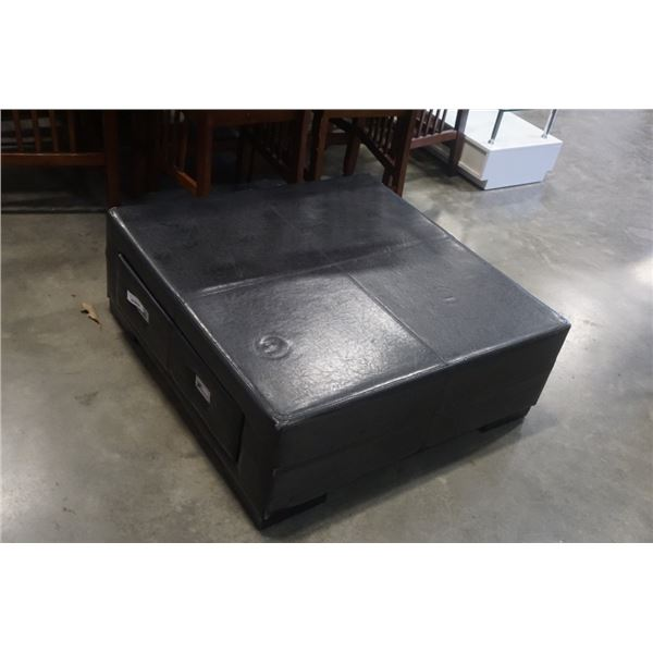 BLACK LEATHER LOOK OTTOMAN WITH DRAWERS - APX 40 X 40 INCHES