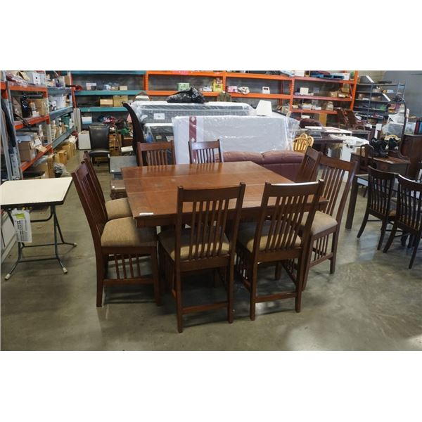MODERN DINING TABLE WITH LEAF AND 8 CHAIRS
