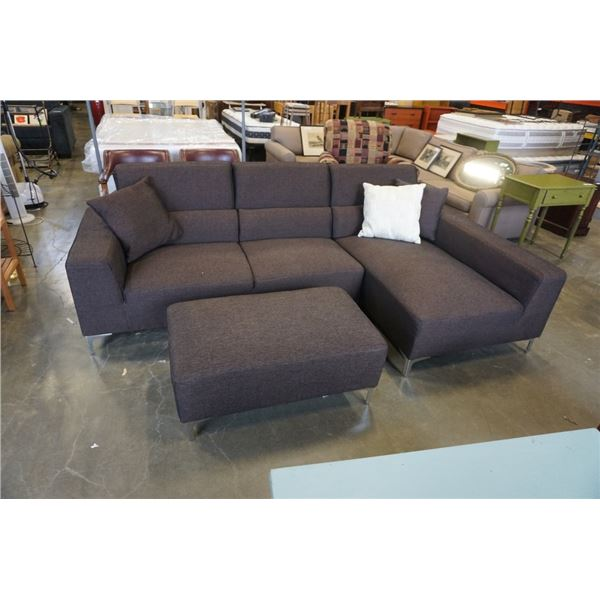 SANDY FURNITURE BROWN UPHOLSTERED SECTIONAL SOFA WITH OTTOMAN