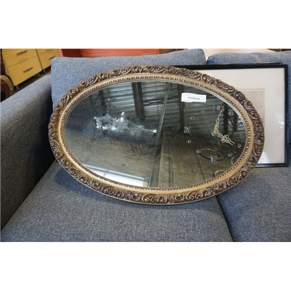 FRAMED CLOCK MIRROR
