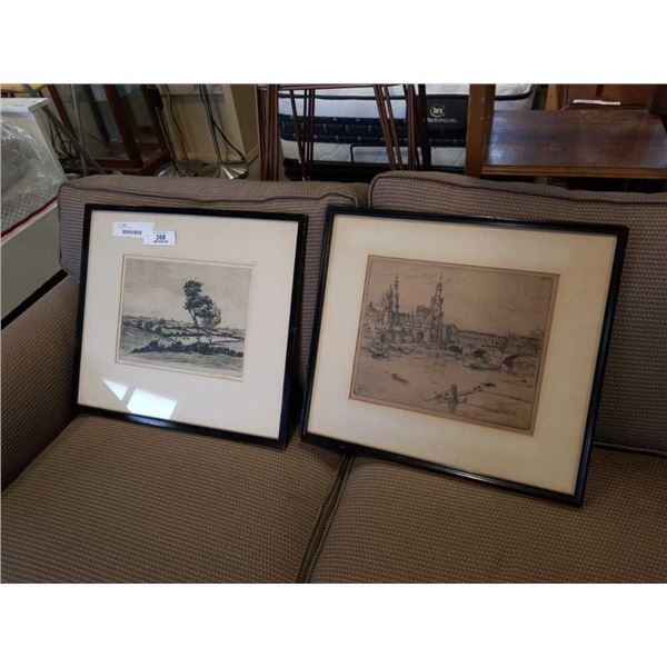 2 VINTAGE ETCHINGS