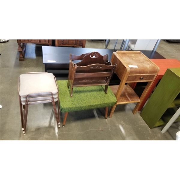 WATERFALL NIGHTSTAND, VINTAGE BENCH, 3 METAL STOOLS, MAGAZINE RACK