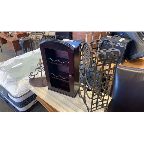 Decorative metal wine rack, shelf and small cupboard