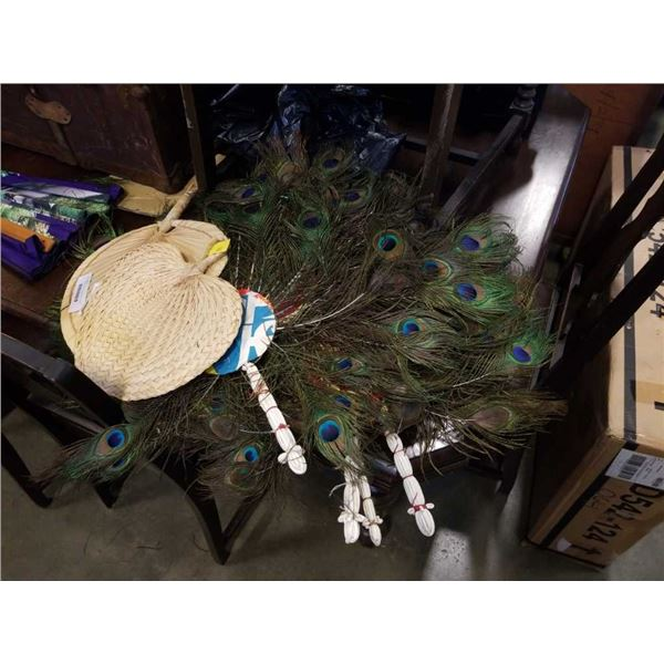 LOT OF PEACOCK FEATHER AND OTHER FANS