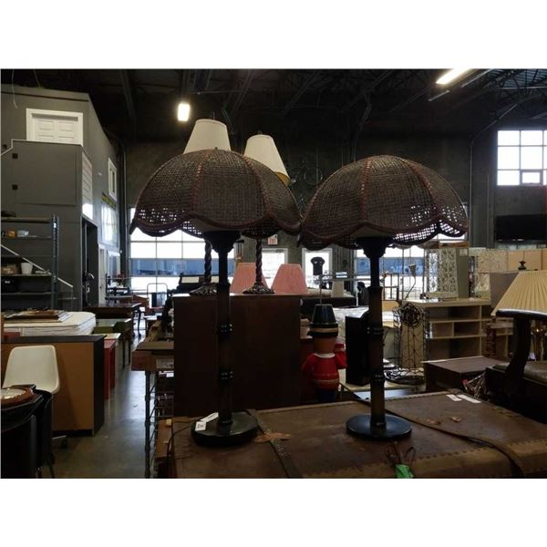 PAIR OF MID CENTURY TABLE LAMPS WITH GLASS GLOBES AND WICKER SHADES