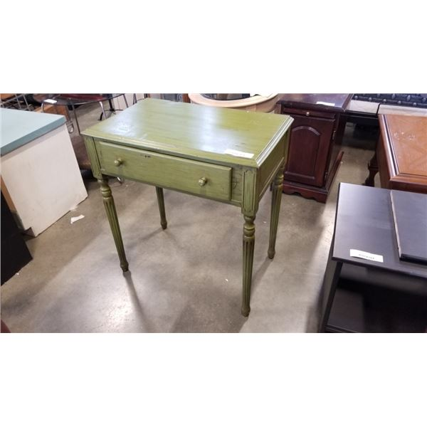 PAINTED GREEN 1 DRAWER STAND