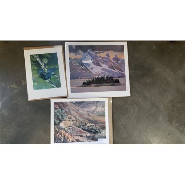 3 UNFRAMED LIMITED EDITION PRINTS SIGNED