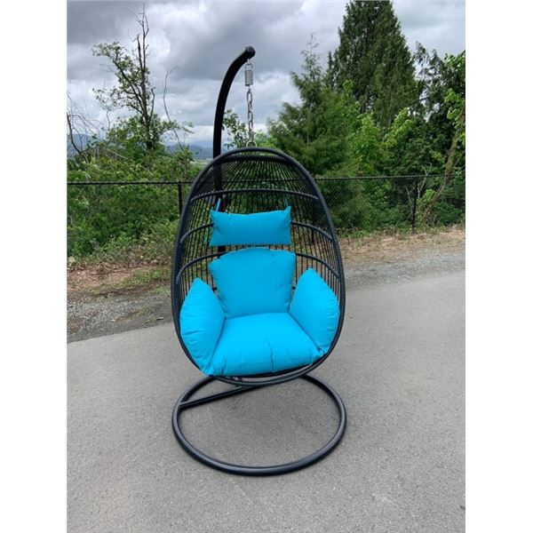 BRAND NEW BLUE SINGLE HANGING EGG CHAIR - RETAIL $949 W/ NECK PILLOW, FOLDABLE FRAME, POWDER COATED
