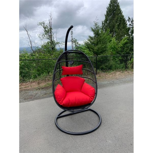 BRAND NEW RED SINGLE HANGING EGG CHAIR - RETAIL $949 W/ NECK PILLOW, FOLDABLE FRAME, POWDER COATED S