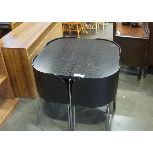 BLACK DINING TABLE WITH 4 NESTING CHAIRS