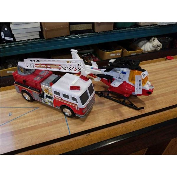 TONKA FIRE TRUCK AND HELICOPTER TOYS