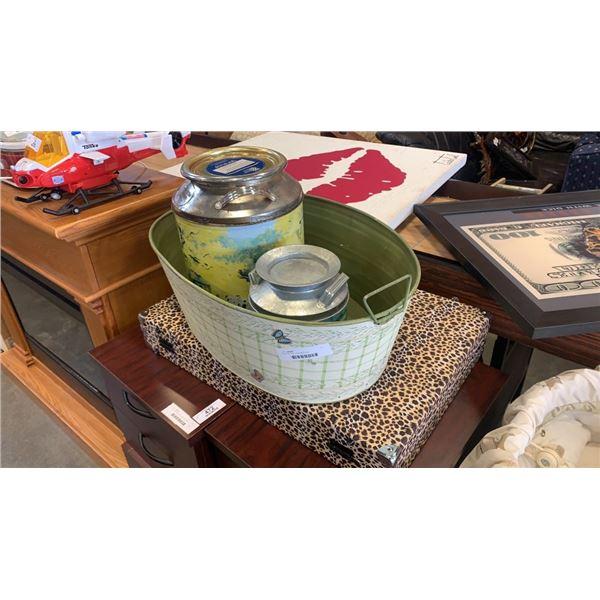 Wash bin and 2 decorative jugs
