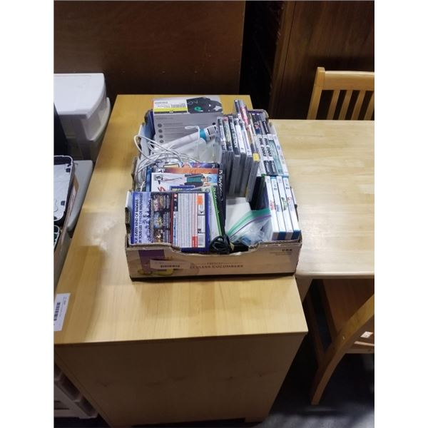 TRAY OF WII ACCESSORIES AND VARIOUS CONSOLE VIDEOGAMES, WII, WIIU, PS2, XBOX360, PS3