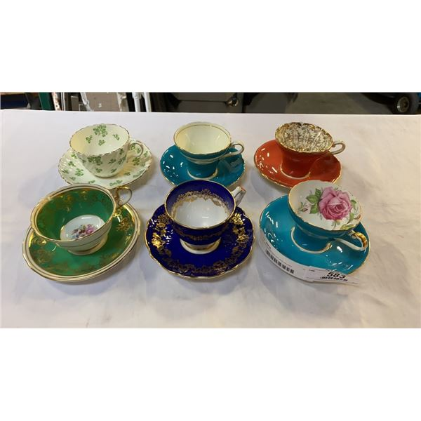 Lot of 6 aynsley teacups and saucers