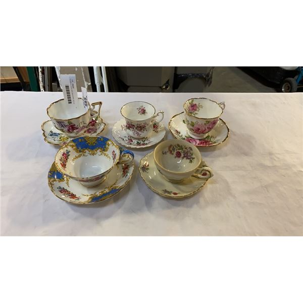 5 CHINA CUPS AND SAUCERS, ROYAL ALBERT, ETC