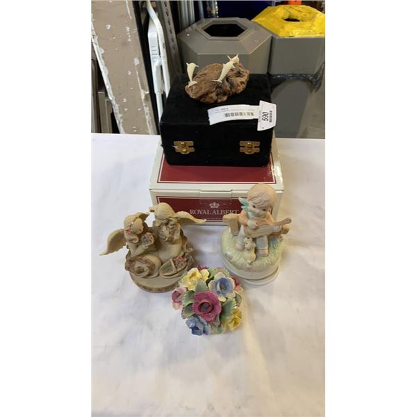 ROYAL ALBERT TEACUP IN BOX, BRASS GOBLETS AND FIGURES