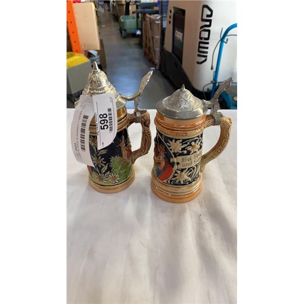 2 STEINS MADE IN GERMANY 7 INCHES TALL