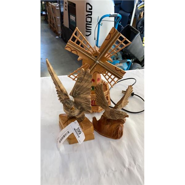 2 CARVED EAGLES, WOOD WINDMILL MUSICAL LAMP