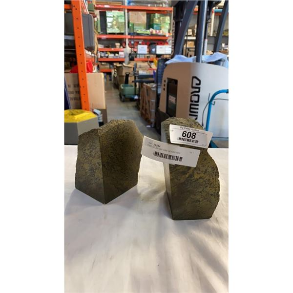 PAIR OF BRASS ORE BOOKENDS