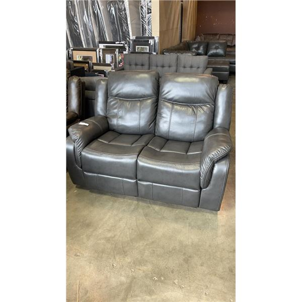 BRAND NEW GREY LEATHER RECLINING LOVE SEAT - RETAIL $699