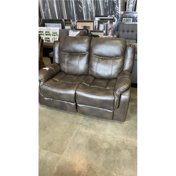 BRAND NEW BROWN LEATHER POWER RECLINING LOVE SEAT - RETAIL $999