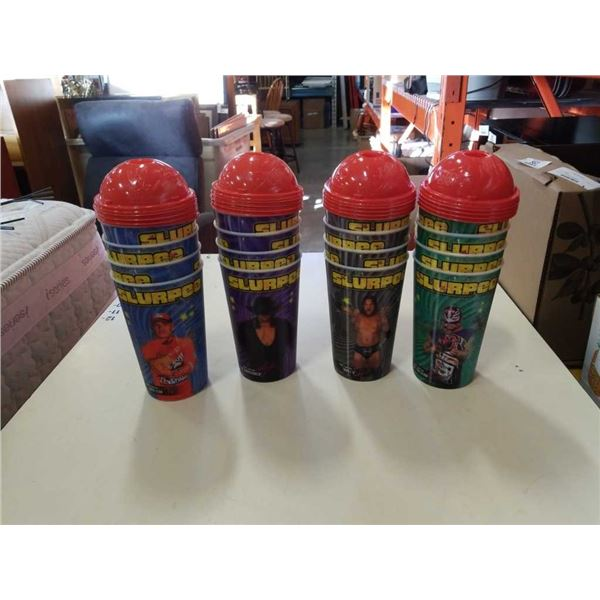 Lot of 16 new wwe slurpee legends cups with tops