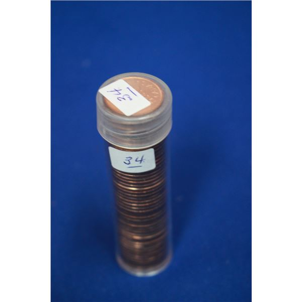 Canada One Cent Coins (50) - Roll; 1958