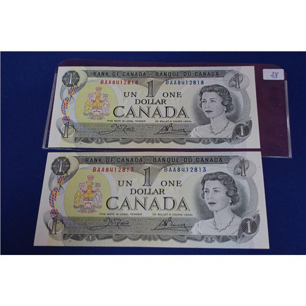 Canada One Dollar Bills (2) - 1973; Unc.