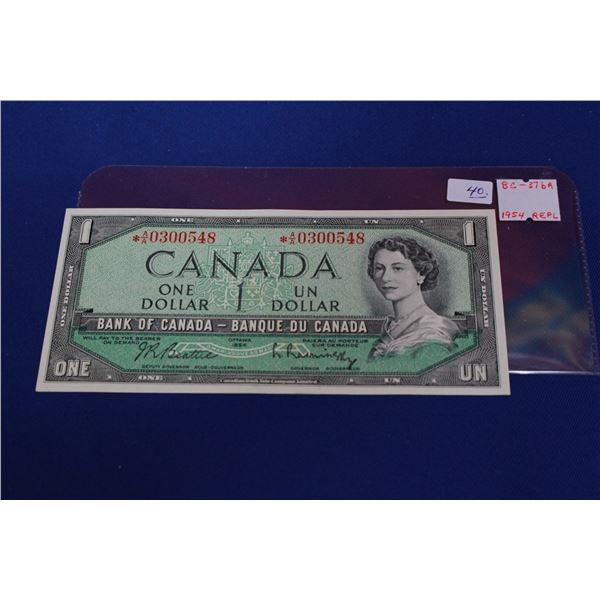 """Canada One Dollar Bill (1) - 1954 """"Replacement""""; Unc."""