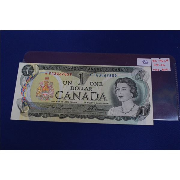 """Canada One Dollar Bill (1) - 1973 """"Replacement""""; Unc."""