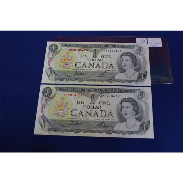 Canada One Dollar Bills (2) - 1973; in Sequence; Unc.