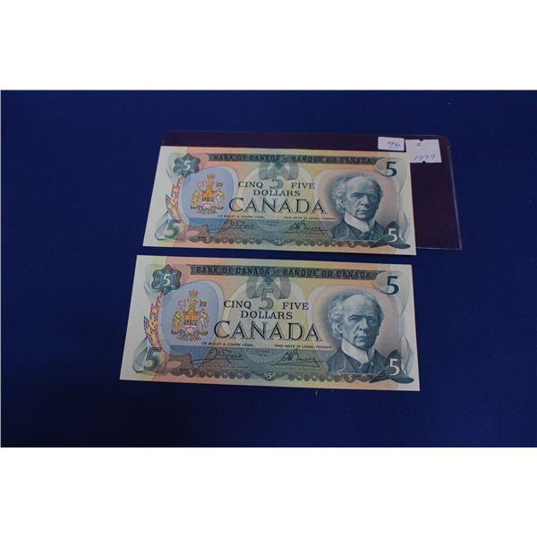 Canada Five Dollar Bills (2) - 1979; Unc.