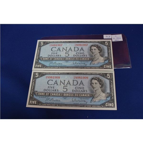 Canada Five Dollar Bills (2) - 1954; In Sequence; Unc.