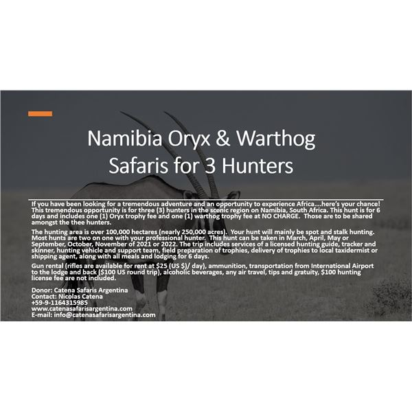 Wildest International Safaris donates 6 Day  Hunt for 3 in Namibia, S. Africa for Oryx and Warthog