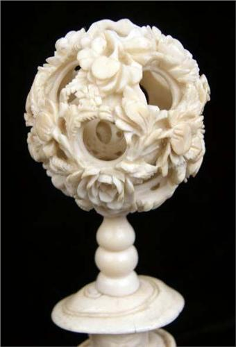 A Carved Bone Puzzle Ball