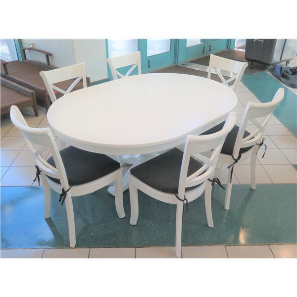 Crate & Barrel White Dining Table w/ 6 Chairs (middle section comes off to form round table)