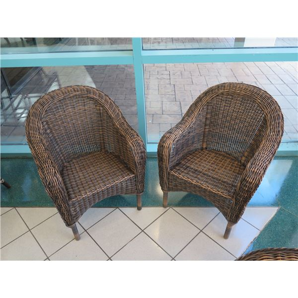 """Pair of Woven Rattan Chairs 28"""" x 24"""" x 34"""" Back Height"""