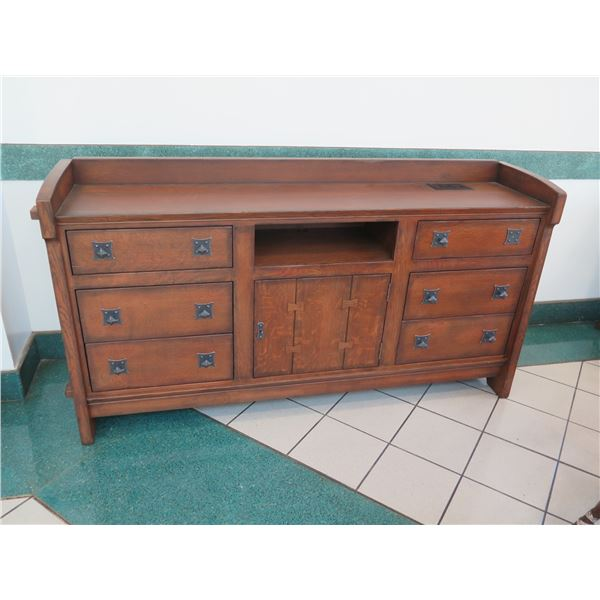 """Stickley Contract Solid Wood Sideboard Cabinet 75"""", 17""""W, 40""""H (missing top right knob)"""