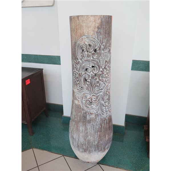 """Tall Whitewashed Wooden Vessel w/ Carved Scroll Details 14"""" Dia, 61"""" Tall"""