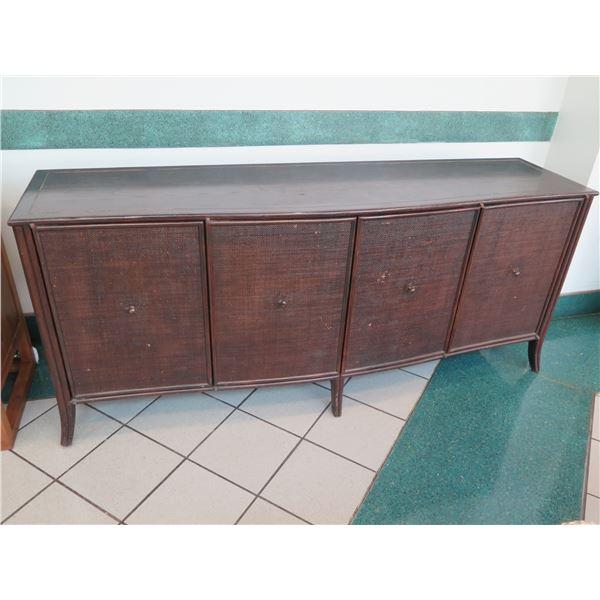 """Dark Wooden 4-Door Sideboard Cabinet 80"""" x  22""""W x 34""""H (pull knobs are bent)"""
