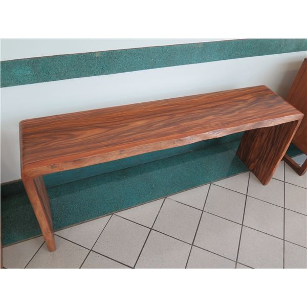 """Live Edge Solid Wood Console Table, Rich-Grained Wood, 70""""L, 16""""W, 29""""H"""