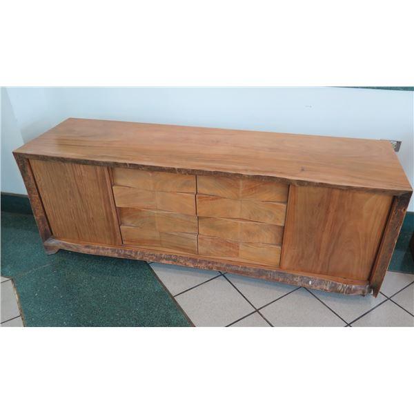 "Live Edge Wooden Sideboard w/ Drawers & Sliding Doors, 72""L x 21""W x 26""H"