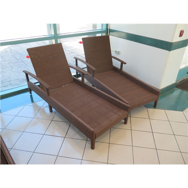 """Pair of Synthetic Rattan Outdoor Loungers 80""""L, 29""""W, 13""""H"""
